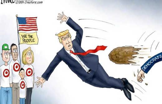 democrats throwing mud shit at we the people trump blocking hit