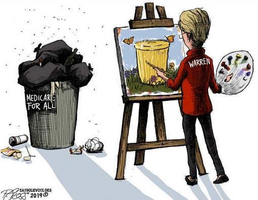 elizabeth warren medicare for all painting trash can