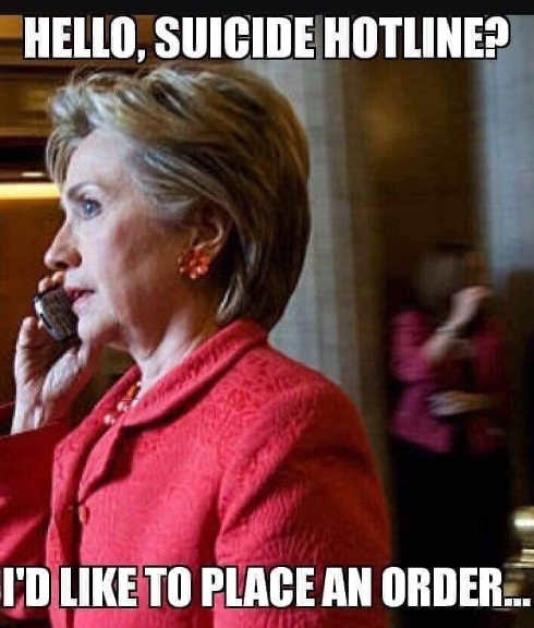 hillary clinton suicide hotline like to place an order