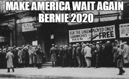 make america wait unlemployment lines bernie sanders 2020