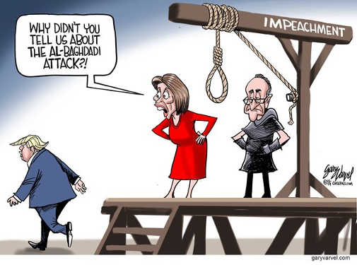 pelosi schumer trump why didnt you inform us isis raid impeachment noose