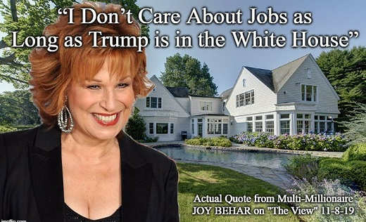 quote joy behar i dont care about jobs as long as trump in white house