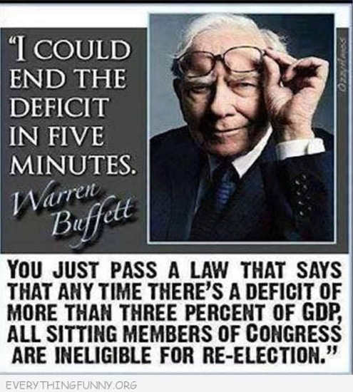 quote warren buffett end deficit in 5 minutes if more than 3 percent gdp sitting memebers of congress ineligible for reelection