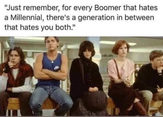 remember boomer who hates millennial generation in between that hates you both