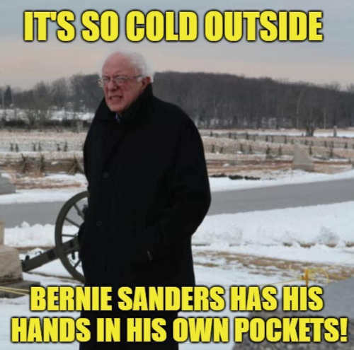 so cold out bernie sanders hand in own pockets