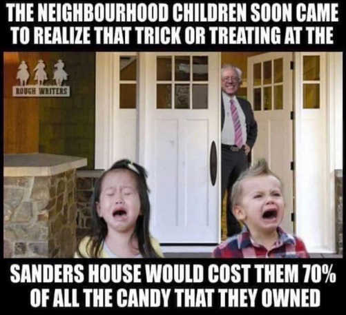 trick or treating at bernie sanders cost 70 percent candy