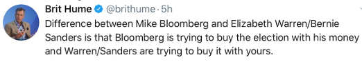 tweet brit hume bloomberg buying votes with his money sanders warren buying with your money