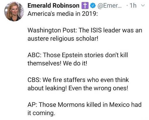 tweet emerald robinson american media 2019 post abc cbs ap
