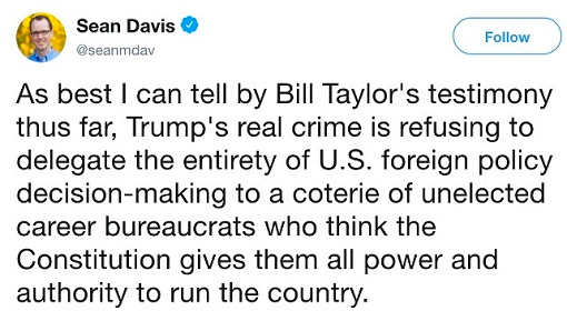 tweet sean davis trump didnt want entire foreign policy delegated to unelected bureaucrats