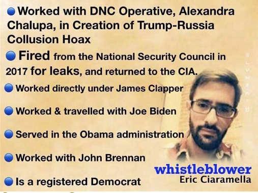whistleblower eric ciaramella fact sheet dnc fired clapper biden obama brennan