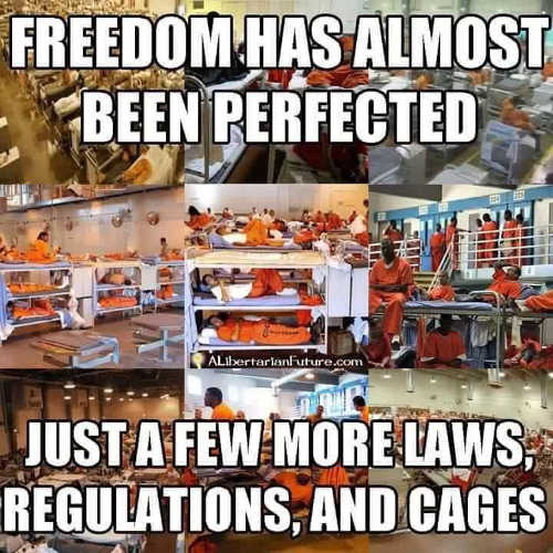 freedom has almost been perfected just a few more laws regulations cages