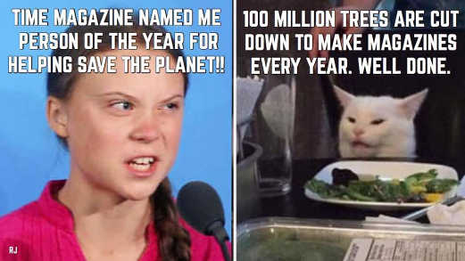 great thunberg climate change angry lady diaz cat 100 million trees cut down to make magazines well done person of year