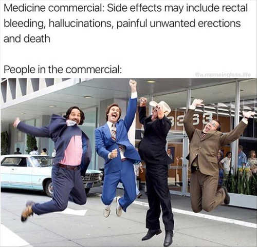 medicine commercials side effects people celebrating