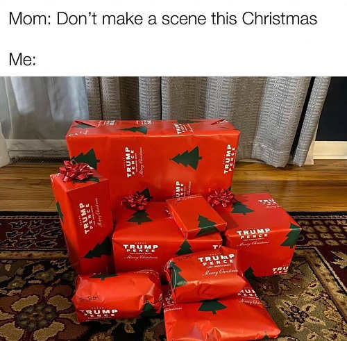 mom dont make scene for christmas trump wrapping paper presents