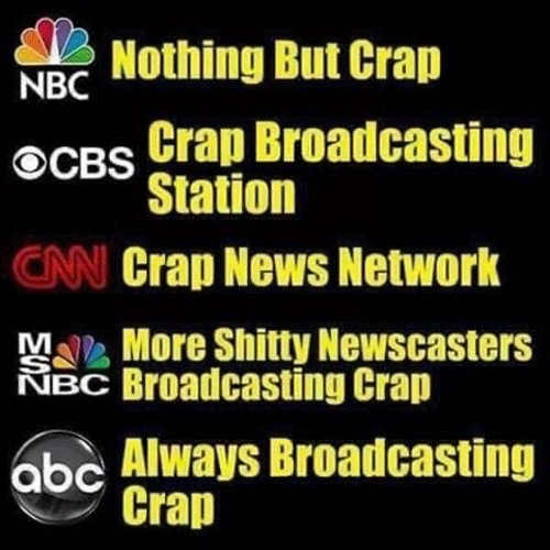 nbc nothing but crap abc cnn msnbc cbs fake news