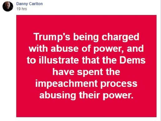 quote danny carlton democrats demonstrate trump abused power by abusing their power