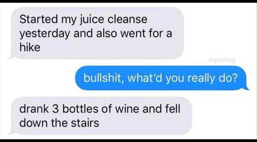 text started juice cleanse hike 3 bottles wine fell down stairs