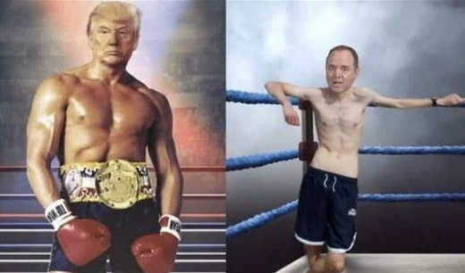trump rocky adam schiff pencil neck geek boxer