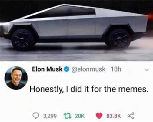 tweet elon musk new car honestly did it for the memes
