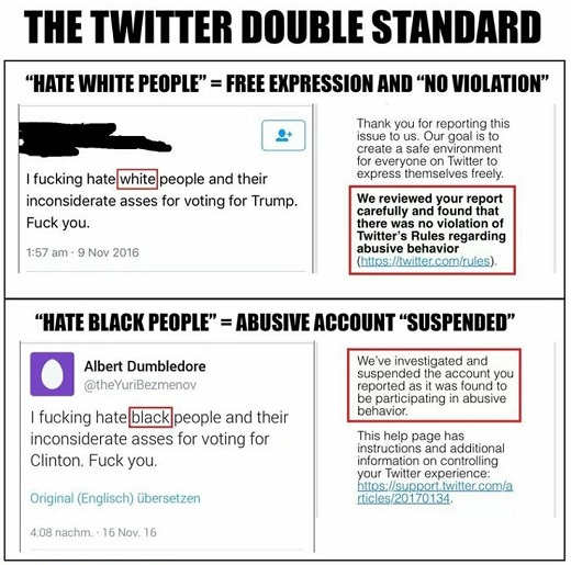 twitter double standard hate white black people trump clinton