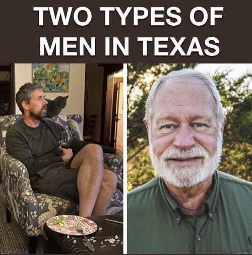 2 types of men in texas beto orourke cat wine