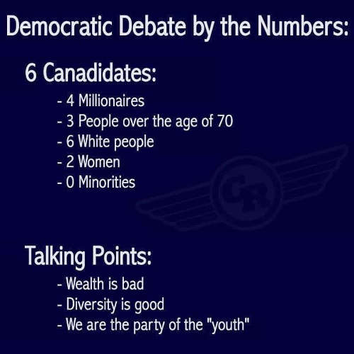 democratic debate by numbers millionaires white talking points wealth is bad diversity good