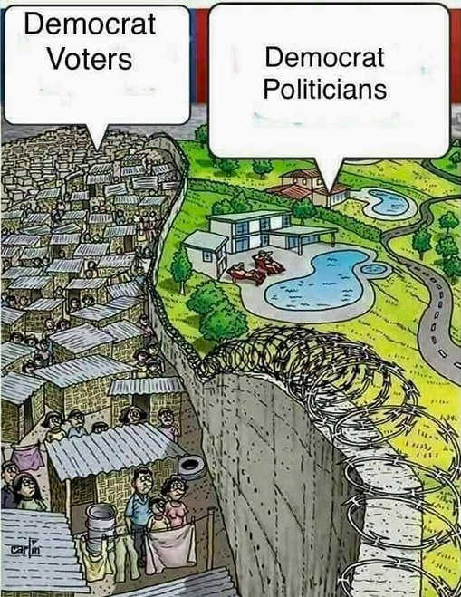 democratic voters slums politicians mansions swimming pools