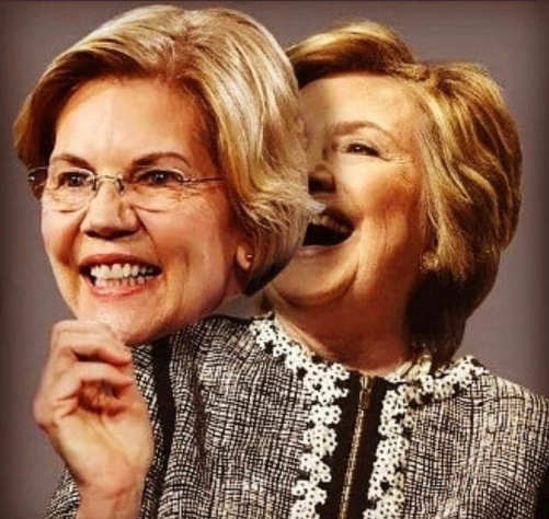 elizabeth warren mask over hillary clinton