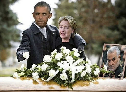 hillary obama leaving flowers soleimani funeral casket