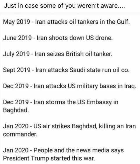 iran attack history last few years vs trump response