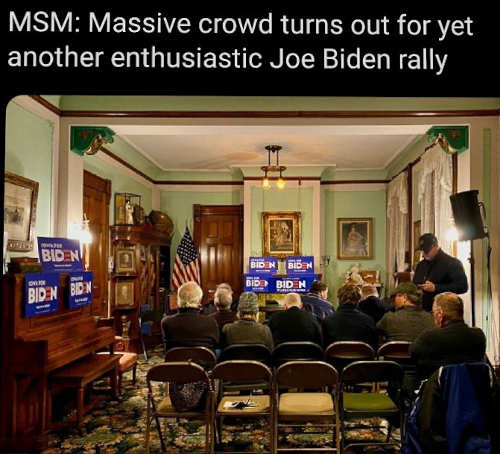 mainstream media massive crowd for enthusiastic joe biden rally