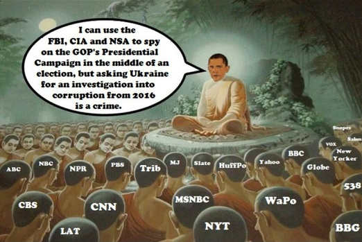 obama can use fbi cia nsa spy on trump but asking ukraine to investigate corruption crime mainstream media