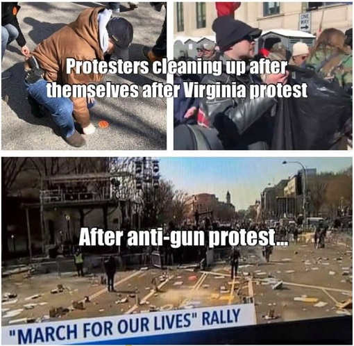 protestors cleaning up after gun rally after anti-gun march for our lives litter covering streets