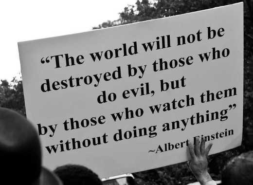 quote albert einstein only thing evil required watch do nothing