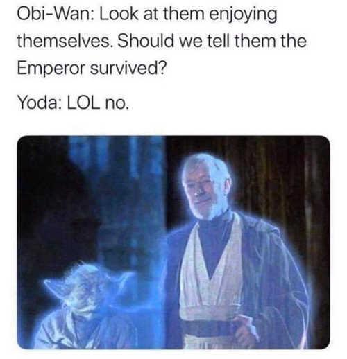 star wars return of jedi should we tell ewoks emperor survived yoda obiwan