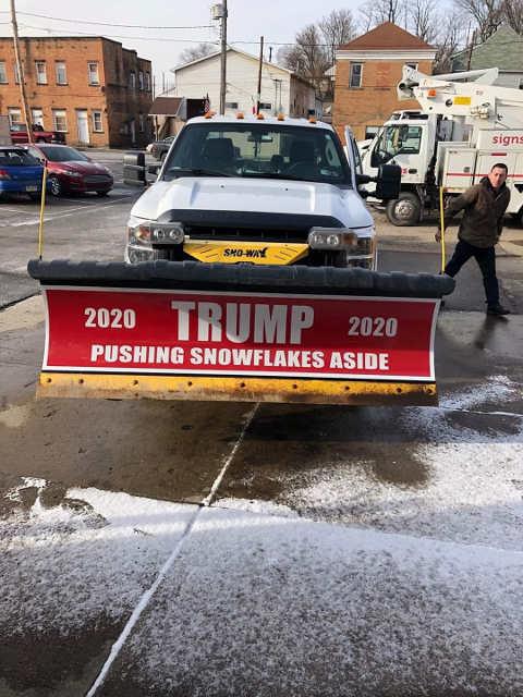 trump 2020 snow plow pushing snowflakes aside