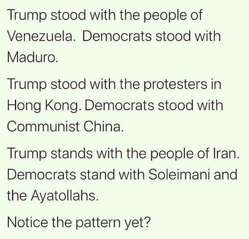 trump stood with people of china venezuela iran democrats with oppressors notice pattern
