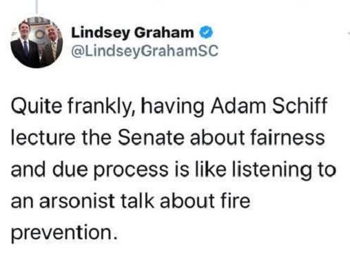 tweet having schiff lecture on fairness like arsonist talking about fire prevention