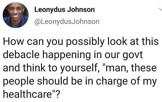 tweet leonydus johnson how can you look at current government think should be in charge of health care