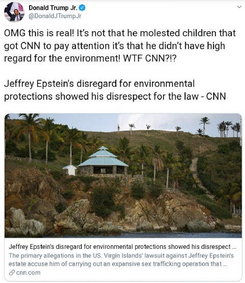 tweet trump jr cnn didnt care epstein molesting kids just environment