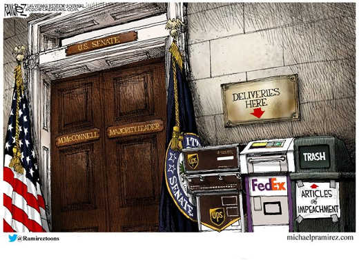 us senate deliveries here ups fed ex trash articles of impeachment