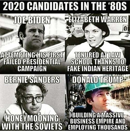 2020 candidates in the 80s biden warren sanders comparison
