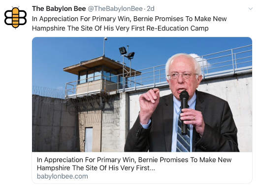 babylon bee bernie sanders new hampshire first reeducation camp site