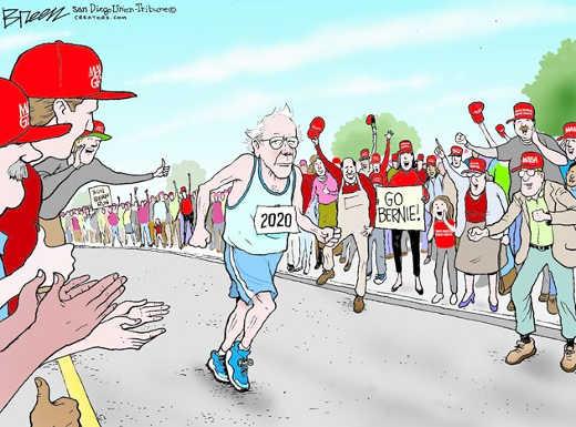 bernie sanders race maga hats cheering