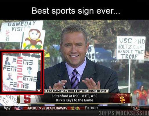 best sports sign ever espn penis