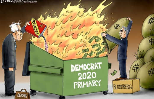 democrat party dumpster fire dumping bloomberg cash and bernie sanders socialism
