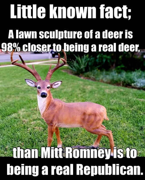 little known fact lawn sculpture deer more real than romney republican
