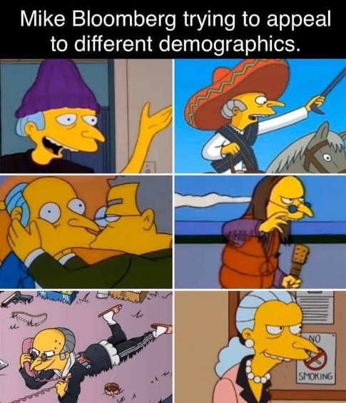 mike bloombern simpsons characters appealing to different demographics