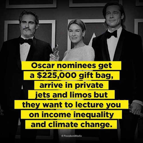 oscar nominees 225k gift bag limos private planes lecture income inequality and climate change