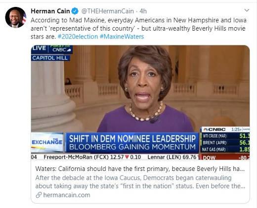 tweet herman cain maxine waters first primary california